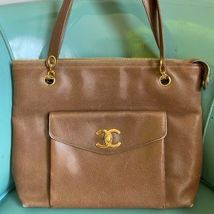 Authentic CHANEL brown caviar executive tote
